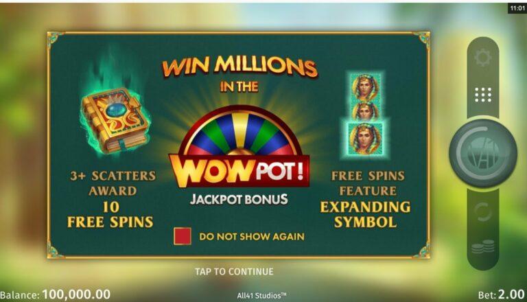 Book of Atem wowpot jackpot bonus