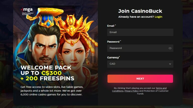 Registration page at Casino Buck