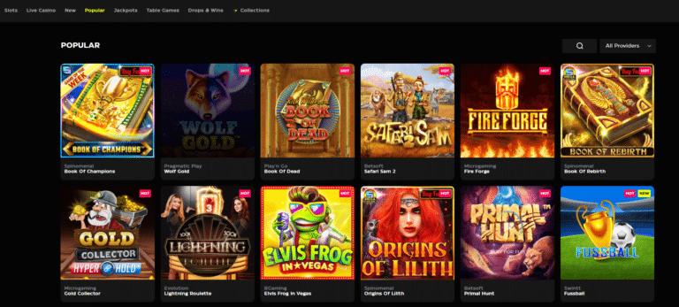 Screenshot of the Casinobuck game page