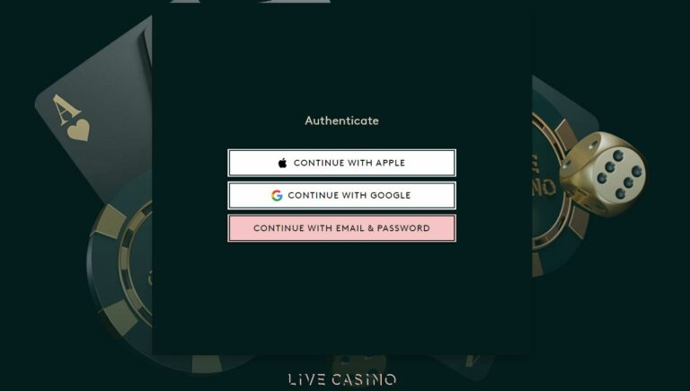 Sign up page at livecasino.com