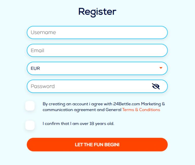 Register at 24Bettle casino