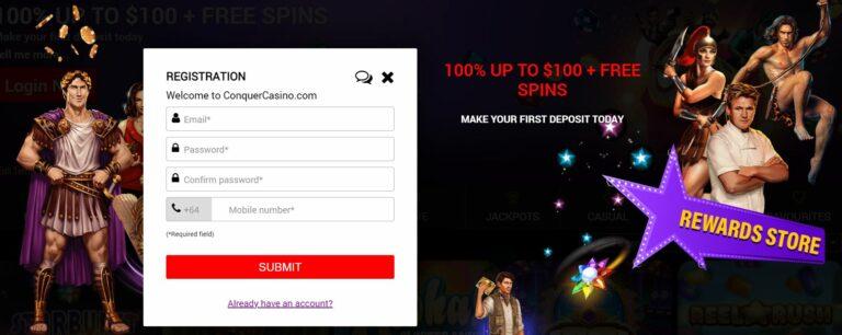 Conquer casino registration page